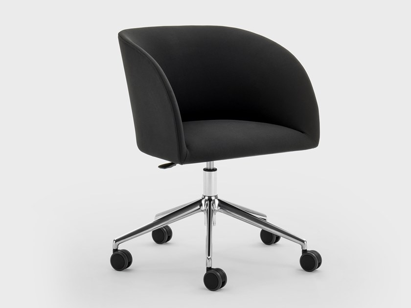 Height-adjustable fabric office chair with armrests with castors MILLY | Fabric office chair by Viganò
