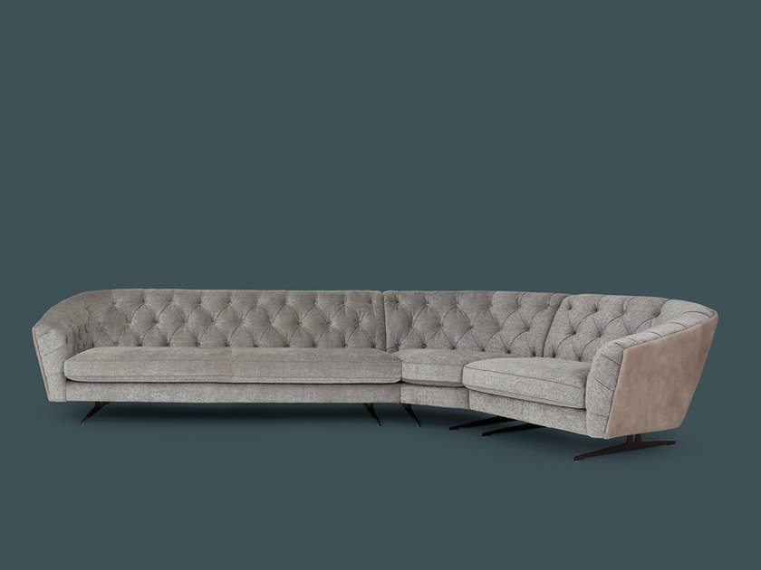 Tufted sectional curved fabric sofa NEW KAP | Fabric sofa by Borzalino