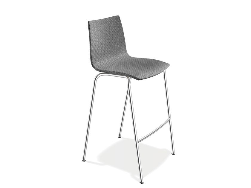 Upholstered fabric stool with footrest ONYX BARSTOOL | Fabric stool by Casala