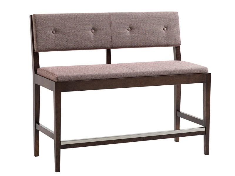 High upholstered fabric bench FACILE | Bench with footrest by Karl Andersson