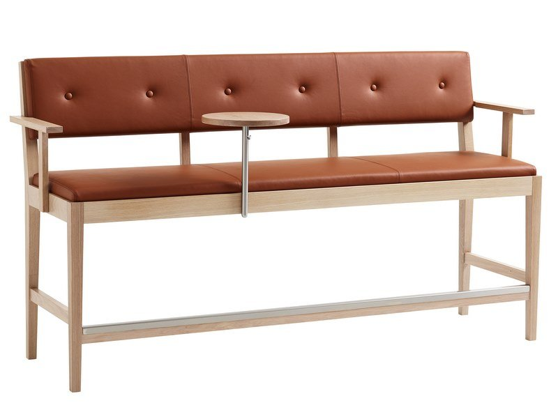 High upholstered leather bench FACILE | High bench by Karl Andersson