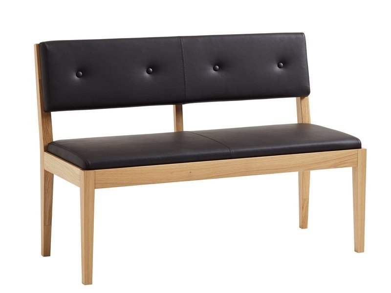 Upholstered leather bench FACILE | Leather bench seating by Karl Andersson