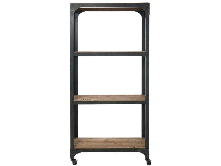 Open spruce bookcase with casters FACTORY | Bookcase by KARE-DESIGN