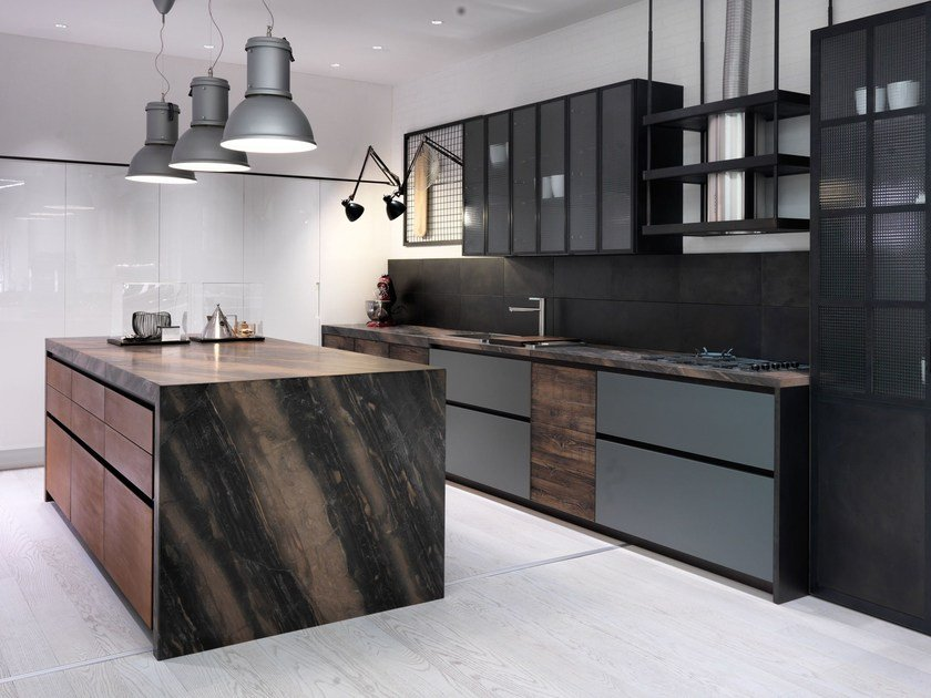 Kitchen with island without handles FACTORY | Kitchen with island by Aster Cucine