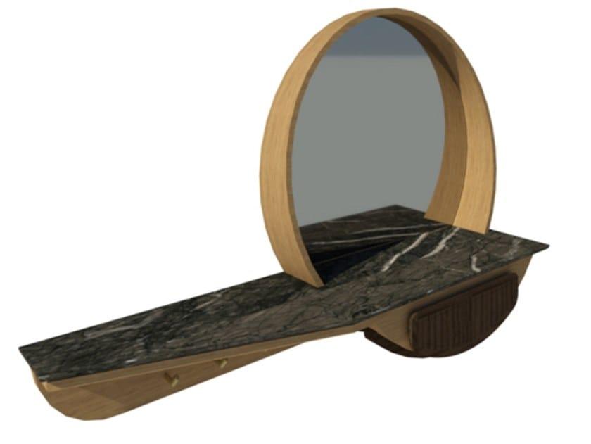 Mobile da ingresso a parete in rovere e noce con specchio FAI | Mobile ingresso M01 by 2K1M