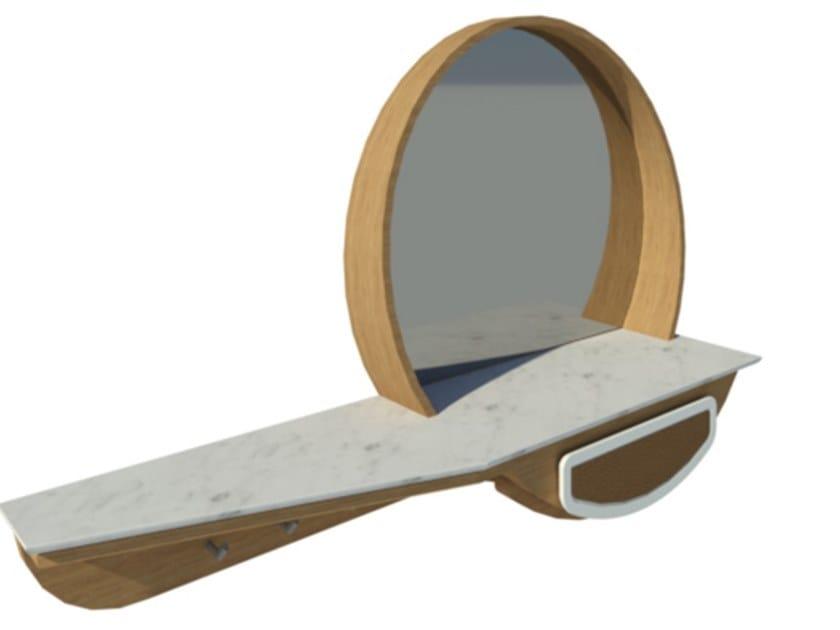 Mobile da ingresso laccato in rovere e ecopelle con specchio FAI | Mobile ingresso M04 by 2K1M