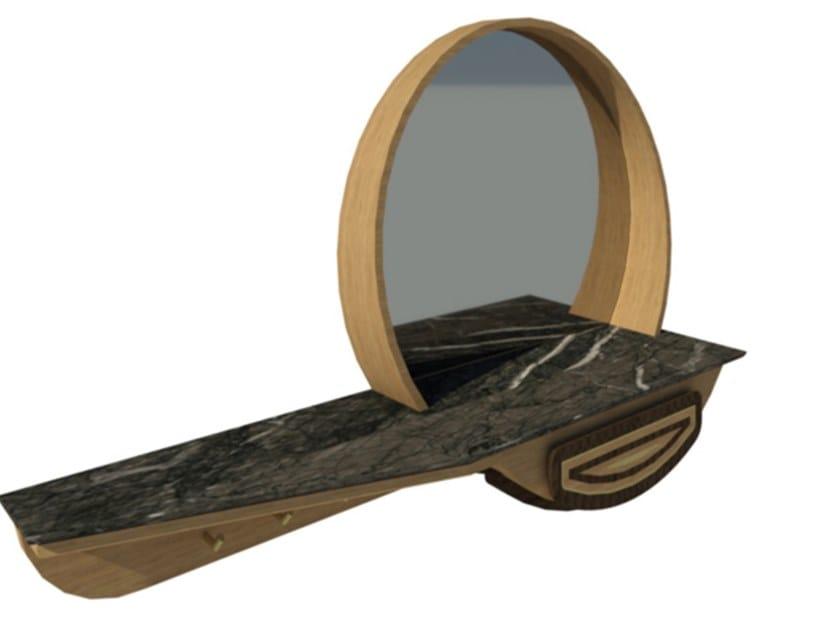 Mobile da ingresso in noce e rovere con inserti con specchio FAI | Mobile ingresso M05 by 2K1M
