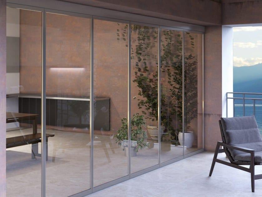 Mobile glass panel system FALCE PARK-ISO by Metalglas Bonomi