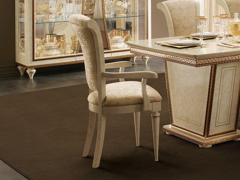 Upholstered fabric chair with armrests FANTASIA   Chair with armrests by Arredoclassic