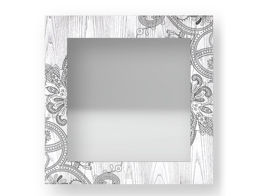 Square wall-mounted framed mirror FANTASY COLD | Mirror by LIGNIS®