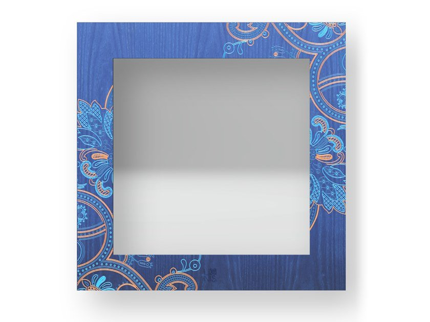 Square wall-mounted framed mirror FANTASY COLORS | Mirror by LIGNIS®