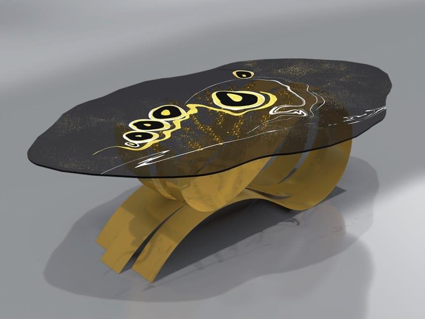 Tavolo in acciaio inox e vetro FARFALLA by Unica by Tecnotelai