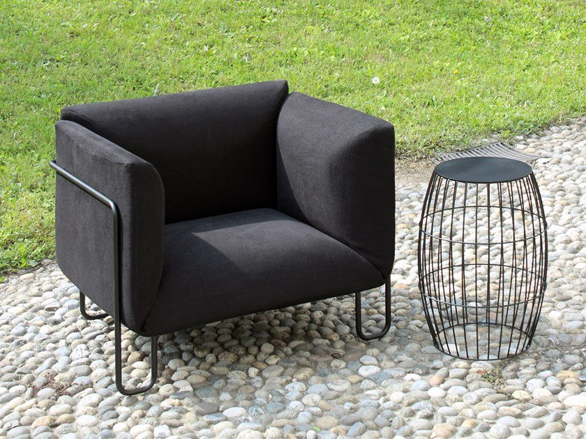 Fabric easy chair with armrests FARGO by spHaus