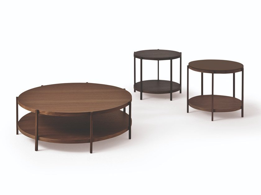 Round wooden coffee table FARNSWORTH | Round coffee table by Busnelli