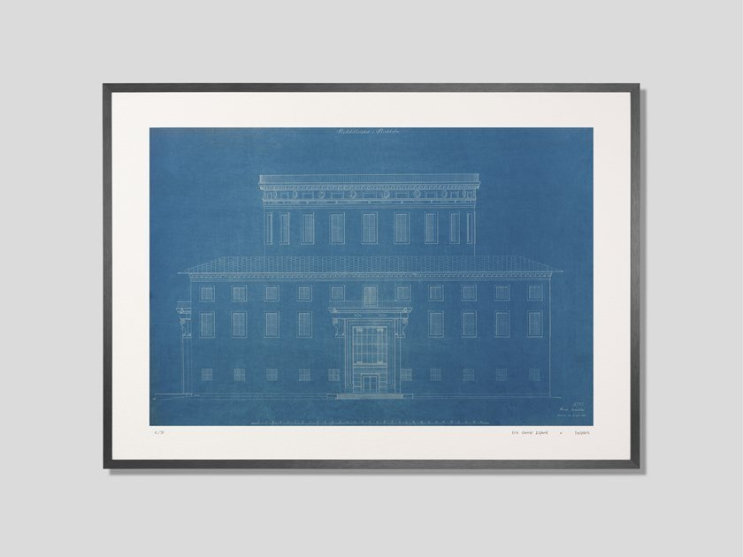 Architectural blueprint fine art print fasad stadtbiblioteket by architectural blueprint fine art print fasad stadtbiblioteket by desplans malvernweather Image collections