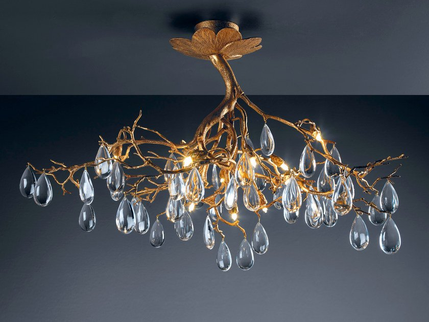Direct light bronze pendant lamp with crystals FASCINIUM | Pendant lamp with crystals by Serip