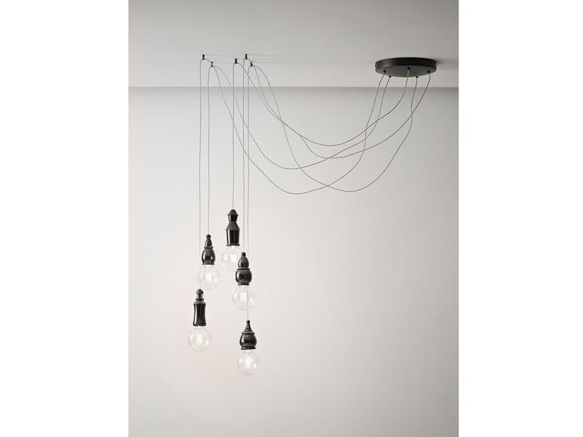 Ceramic pendant lamp FATE - ROUND MULTIPLE CANOPY by Aldo Bernardi