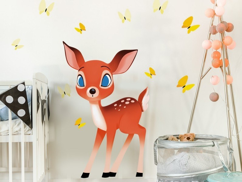 Kids wall sticker FAWN AND BUTTERFLIES by ACTE-DECO