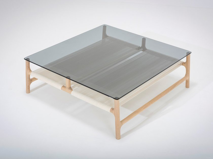 Low Square Wood And Gl Coffee Table Fawn By Gazzda