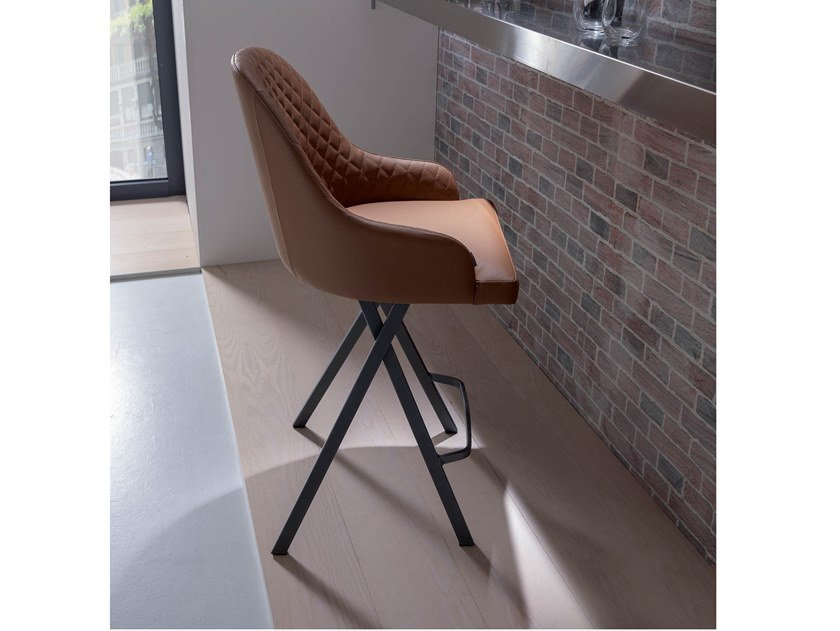 High upholstered leather stool FEBO by Ozzio Italia