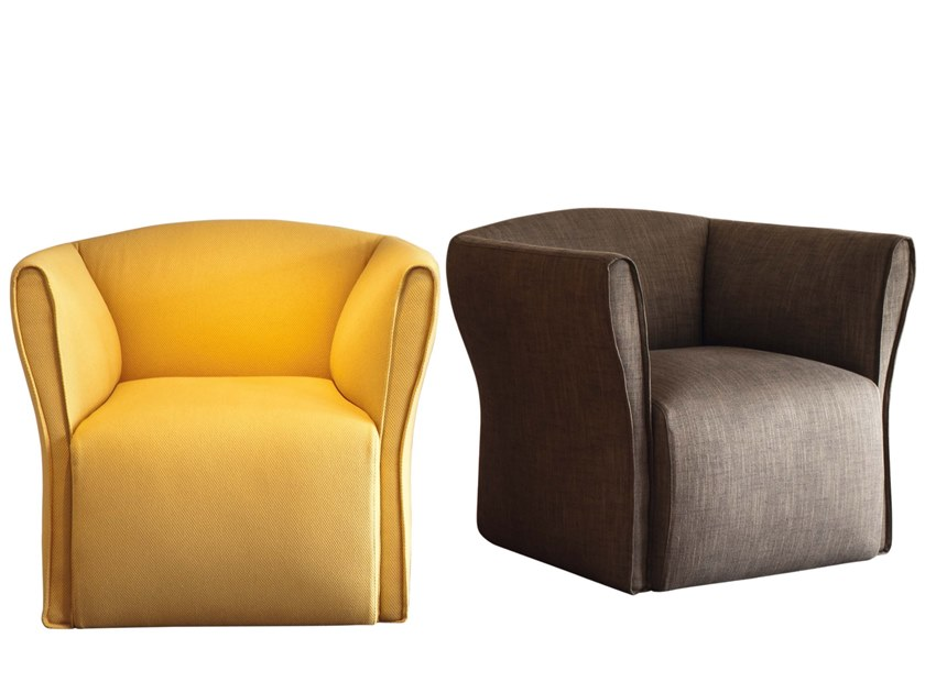 Fabric armchair with removable cover with armrests FEDRA by JESSE