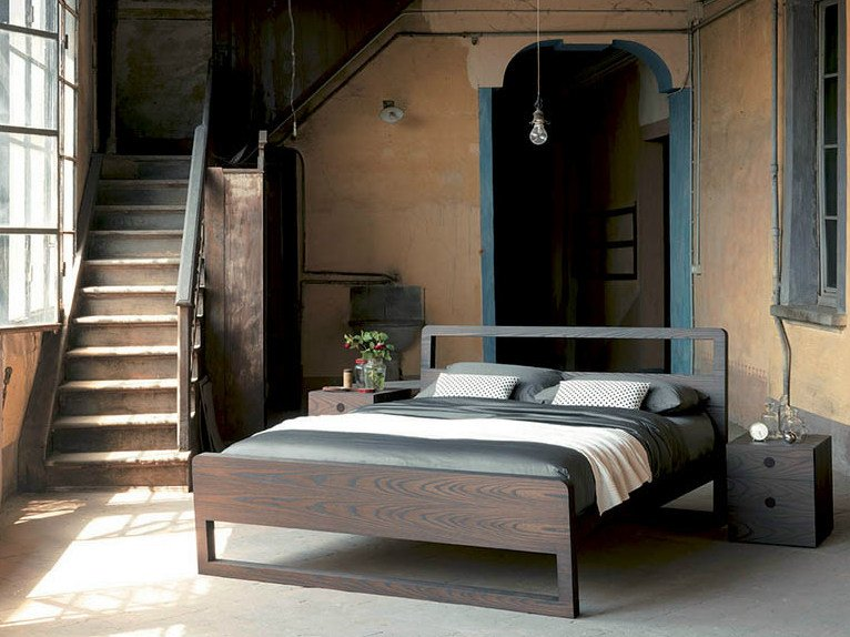 Wooden double bed with adjustable headrest FEEL | Wooden bed by Fimar