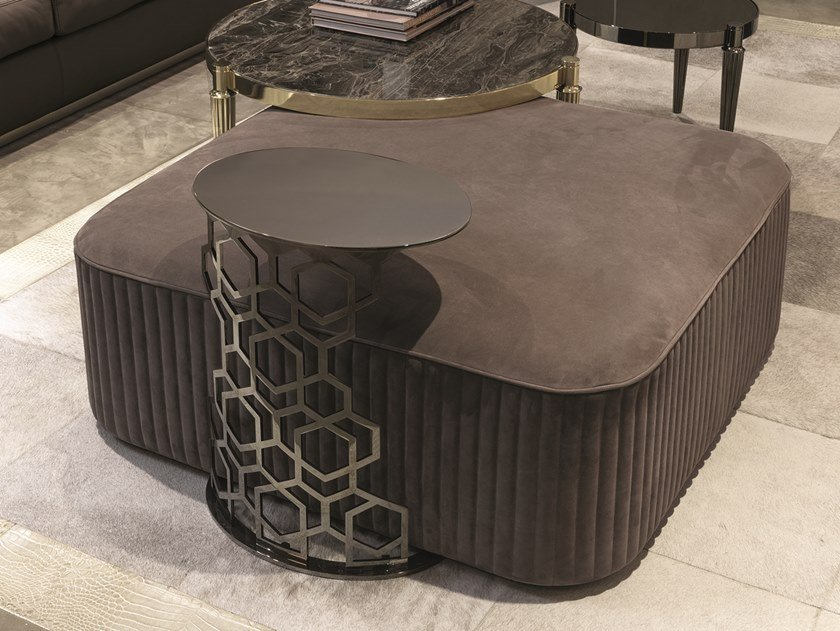 Upholstered square leather pouf FELIX | Square pouf by Longhi