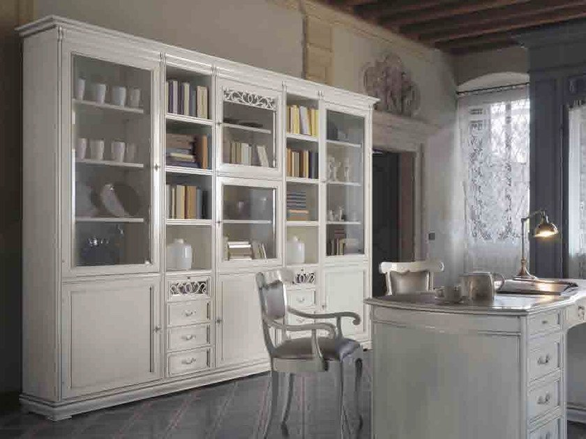 Solid wood bookcase with drawers FENICE | Lacquered bookcase by Arvestyle