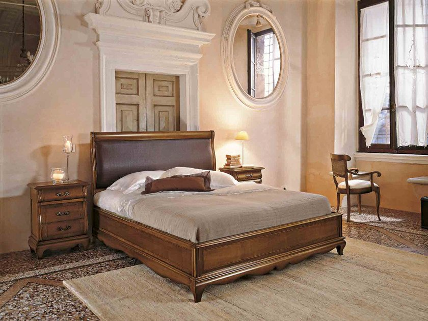 Solid wood double bed with upholstered headboard FENICE | Double bed by Arvestyle