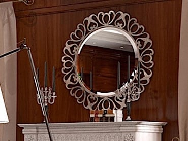 Wall-mounted framed mirror FENICE | Round mirror by Arvestyle