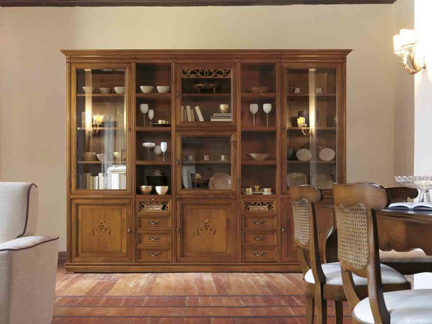 Solid wood bookcase with drawers FENICE   Solid wood bookcase by Arvestyle