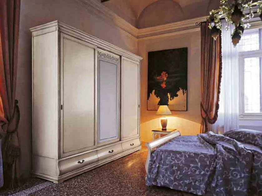Wood and glass wardrobe with sliding doors FENICE | Wood and glass wardrobe by Arvestyle