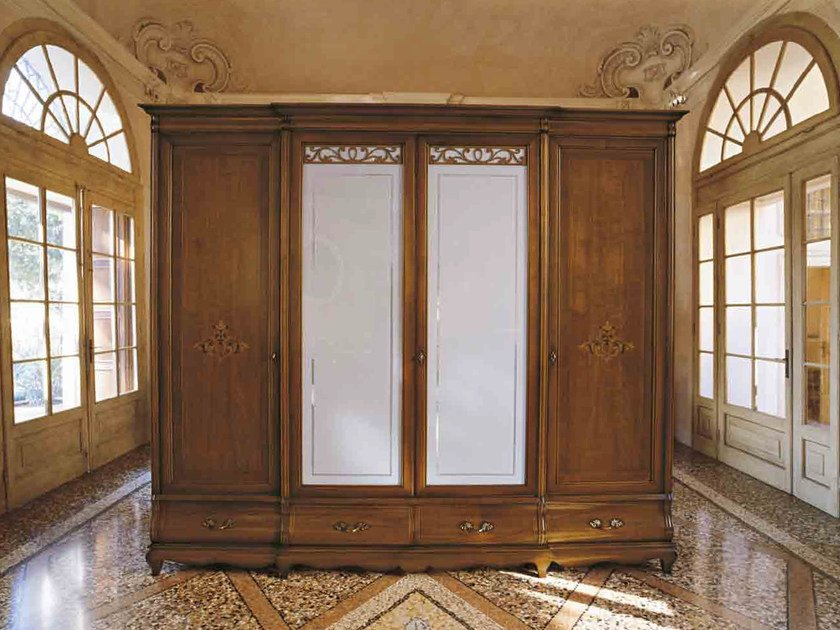 Wood and glass wardrobe with drawers FENICE | Classic style wardrobe by Arvestyle