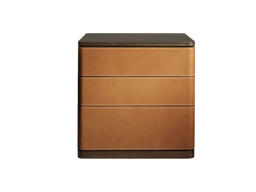 Tanned leather bedside table FIDELIO | Bedside table by Poltrona Frau