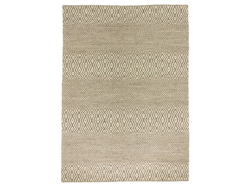 Patterned handmade rectangular wool and cotton rug FIELD by Kuatro