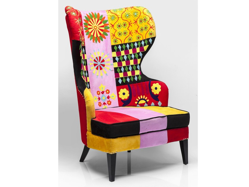 Fabric armchair with armrests FIESTA COLORE by KARE-DESIGN