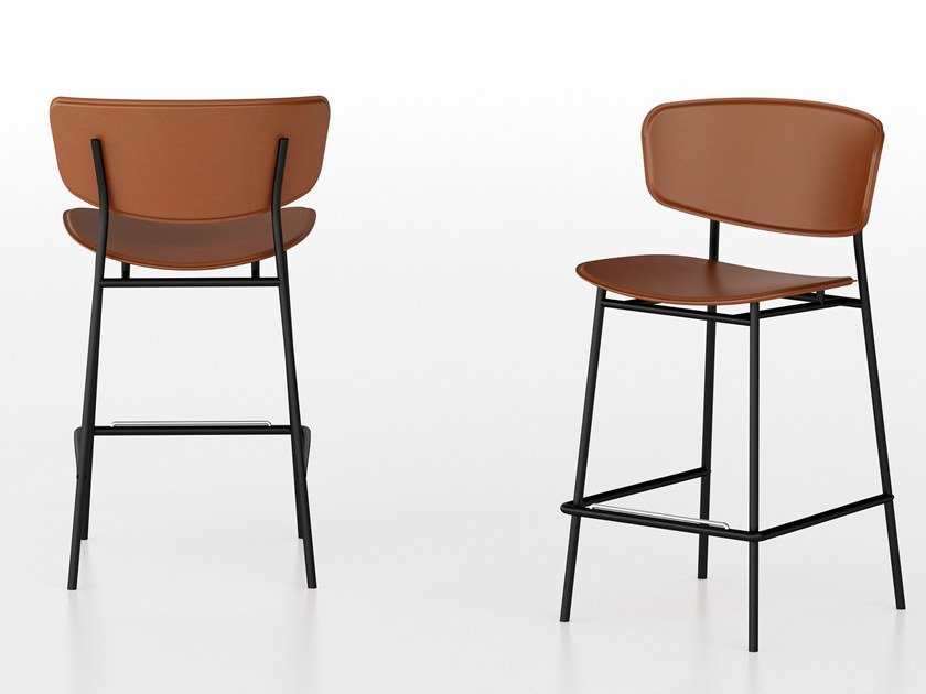 Tanned Leather Stool With Footrest FIFTIES | Tanned Leather Stool By  Calligaris
