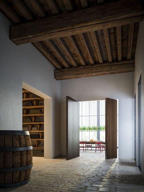Porta a Bilico Verticale FILO 10 LInvisibileVerticalPivotdoor_Filo10Asymmetricdoubleleaves_EbanyVeneered_open_Winefarm_Montalcino_invisibledoors