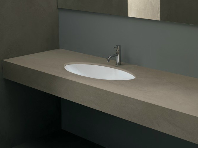 Contemporary style undermount oval ceramic washbasin FILO70 by Alice Ceramica