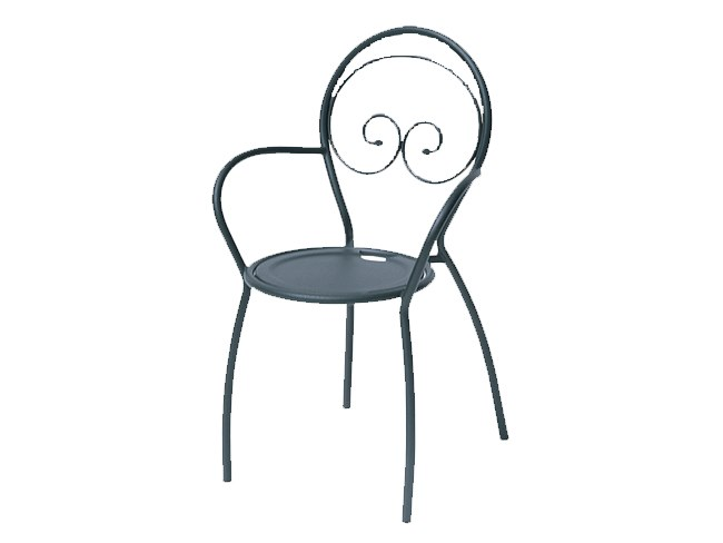 Stackable galvanized steel chair with armrests FIONA 2 by RD Italia