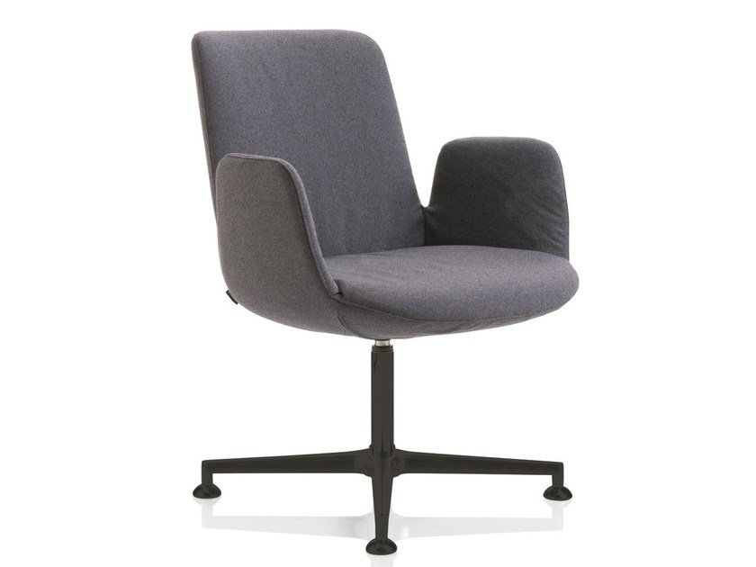 Fabric chair with 4-spoke base with armrests FIOR DI LOTO | Chair with armrests by Emmegi
