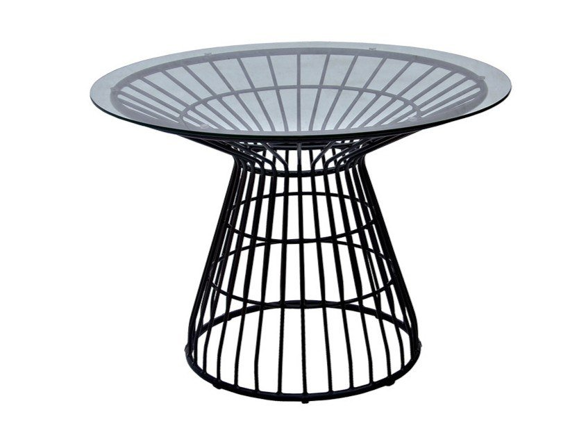 Round glass and aluminium garden table FIORELLA   Glass and aluminium table by cbdesign