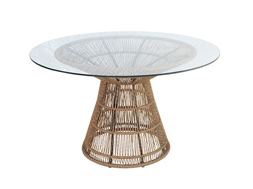 Round glass, aluminium and synthetic garden table FIORELLA | Table by cbdesign