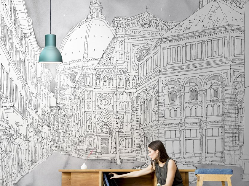 Washable landscape glass-fibre wallpaper FIRENZE MMXVIII by Tecnografica Italian Wallcoverings