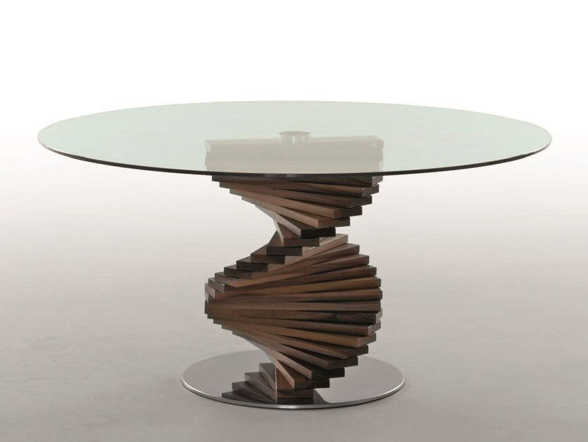 Round Glass Table With Walnut Base Firenze By Tonin Casa