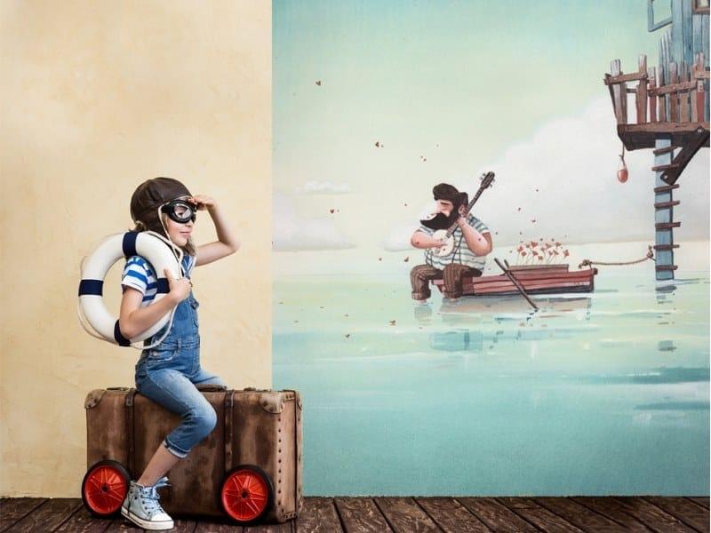 Panoramic JET TEX kids wallpaper FISHERMAN'S CABIN by ACTE-DECO