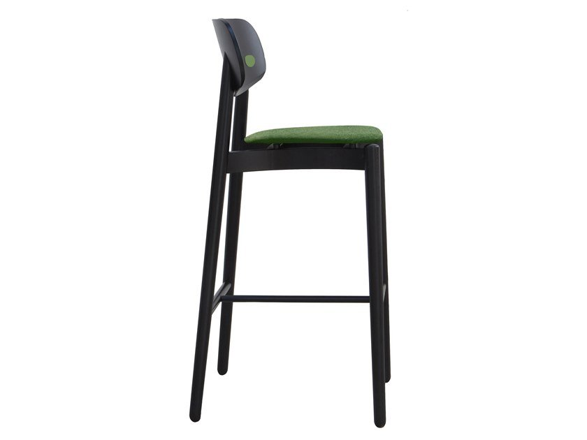 High wooden stool with integrated cushion FIZZ | Barstool by Bedont
