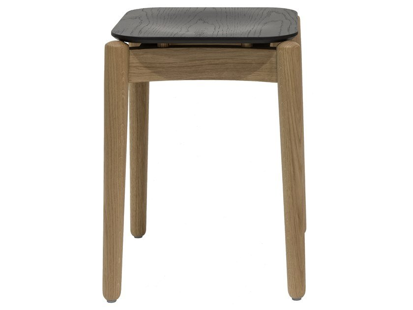 Low lacquered beech dual color stool FIZZ | Beech stool by Bedont