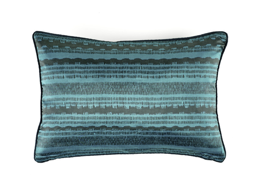 Motif rectangular silk cushion FIZZ by Élitis