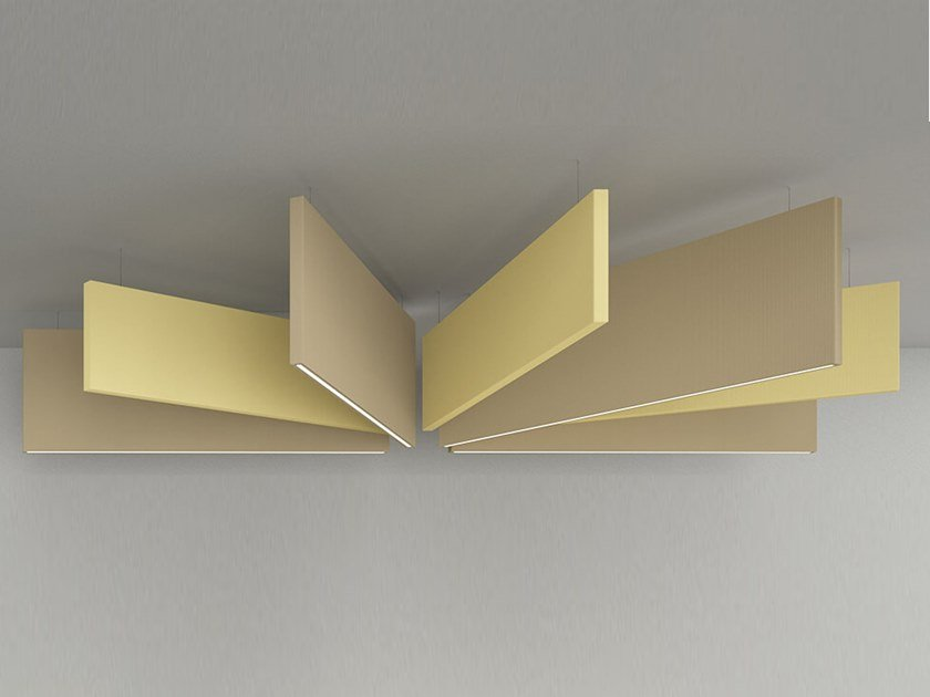Hanging acoustic panel with Integrated Lighting FLAG | Hanging acoustic panel with Integrated Lighting by Caruso Acoustic